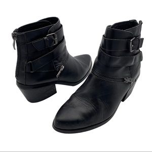 Chelsea & Zoe Black Leather Moto Ankle Boots 6.5